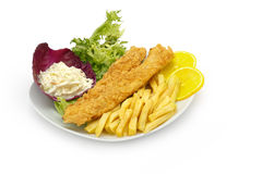 Fish Fillet & Chips served with salad and french fries Stock Photography