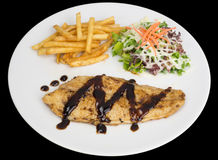 Fish fillet with french fries and salad Royalty Free Stock Photo