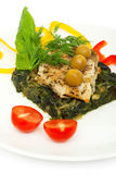 Fish fillet grilled and sauteed spinach Stock Image
