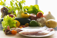 Fish fillet and ingredients Royalty Free Stock Photo