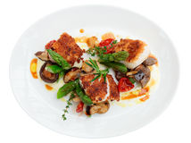 Fish fillet with mushrooms and asparagus Royalty Free Stock Image