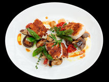 Fish fillet with mushrooms and asparagus, isolated Stock Photo