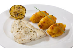 Fish fillet with potato patties Stock Images