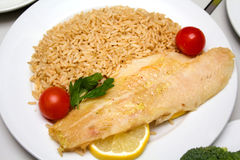 Fish fillet with rice Stock Photo