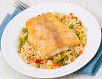 Fish fillet with rice and vegetables. On plate Royalty Free Stock Photos