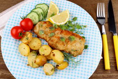 Fish fillet with rosemary potatoes, vegetables Royalty Free Stock Photo