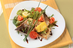 Fish fillet with salad greens and tomatoes Royalty Free Stock Images