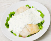 Fish fillet with sauce Stock Photo