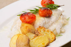 Fish fillet in sauce and vegetables Closeup Royalty Free Stock Image