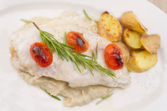 Fish fillet in sauce and vegetables Stock Photography