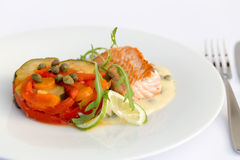 Fish fillet, sauce and vegetables Royalty Free Stock Image