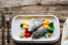 Fish fillet with stewed vegetables. lenten food Royalty Free Stock Photos