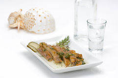 Fish Fillet(sun Dried)and Ouzo Royalty Free Stock Images