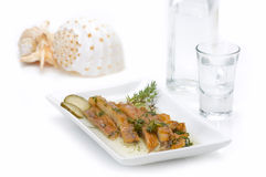 Fish fillet(sun dried)and ouzo royalty free stock photo