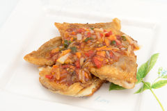 Fish Fillet with three flavor spicy sauce Stock Images