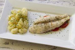 Fish fillet on tomato bed with gnocchi Royalty Free Stock Image