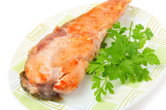 Fish fillet with tomato sauce Royalty Free Stock Images