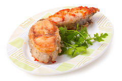 Fish fillet with tomato sauce Stock Image