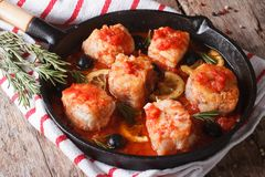 Fish fillet in tomato sauce in a pan and ingredients horizontal Stock Photos