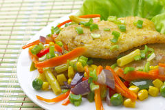 Fish fillet with vegetables. Stock Photos