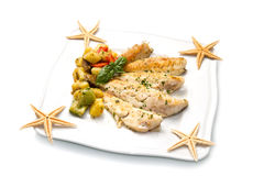 Fish fillet with vegetables Royalty Free Stock Photography
