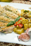 Fish fillet with vegetables Royalty Free Stock Images