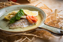 Fish fillet with vegetables Stock Images