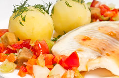 Fish fillet with vegetables and potatoes Royalty Free Stock Image
