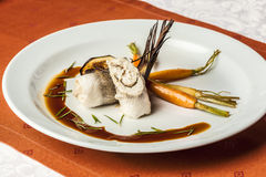 Fish fillet with vegetables and soy sauce Stock Photo