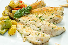 Fish fillet with vegetables Royalty Free Stock Photo
