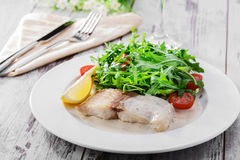 Fish fillet in white sauce Stock Images