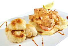 Fish Fillet With Cauliflower Isolated Royalty Free Stock Photo