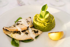 Fish fillets and potato mash Stock Image