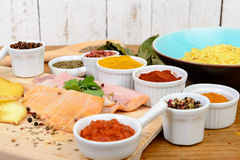 Fish fillets with spices Stock Photos