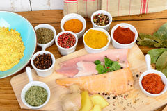 Fish fillets with spices Stock Photo