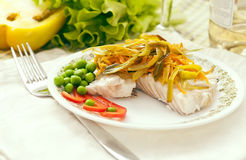 Fish fillets with vegetables stock photography