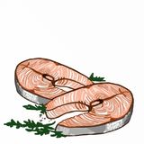 Fish fillets and white background. Realistic fish fillets and white background Stock Photography