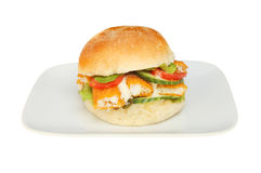Fish finger bap on a plate Stock Photography