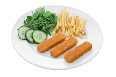 Fish finger meal Stock Images