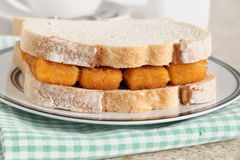 Fish Finger Sandwich. A popular British comfort food stock images