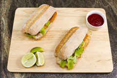 Fish finger sandwiches Royalty Free Stock Image