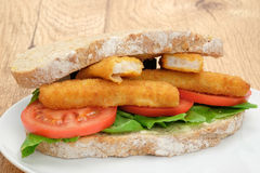 Fish finger sticks sandwich Royalty Free Stock Photo