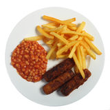 Fish fingers, beans and chips Stock Photography