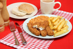Fish Fingers and Chips. Fish fingers with chips and baked beans Royalty Free Stock Images