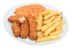 Fish Fingers & Chips Royalty Free Stock Photos