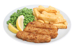 Fish Fingers and Chips. Breaded fish fingers with chips and peas Royalty Free Stock Photography