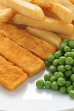 Fish Fingers Chips and Peas Royalty Free Stock Images