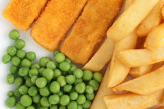 Fish Fingers Chips and Peas Stock Photography