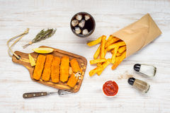 Fish Fingers with French Fries Stock Photos
