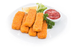 Fish Fingers with Ketchup Stock Photos
